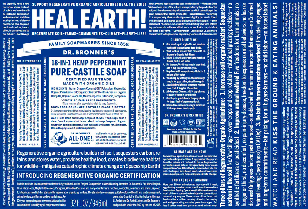 Sloww Dr. Bronner's Heal Earth Soap Label