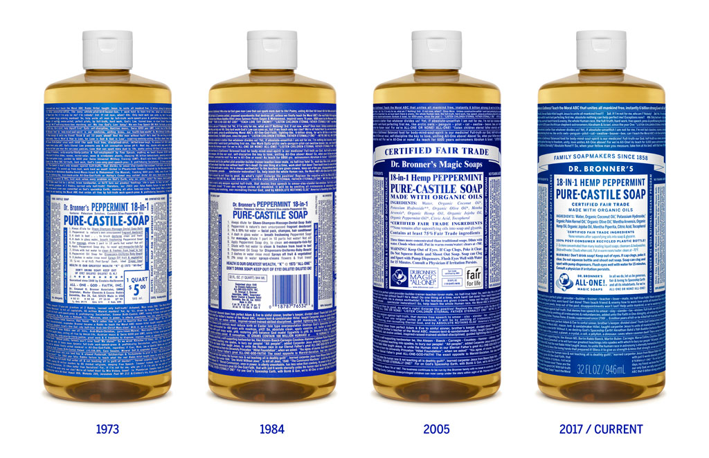 Sloww Dr. Bronner's Soap Label Evolution