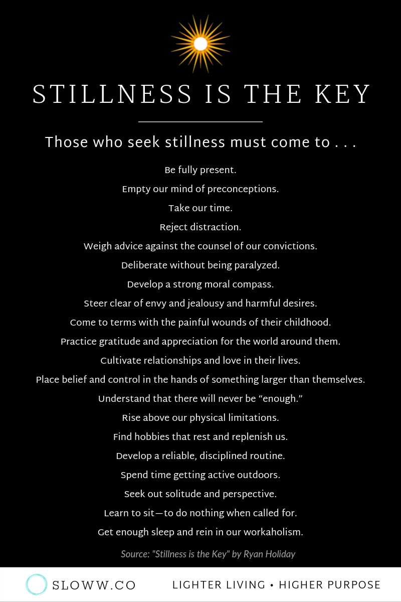 Sloww Stillness is the Key Seeking Infographic