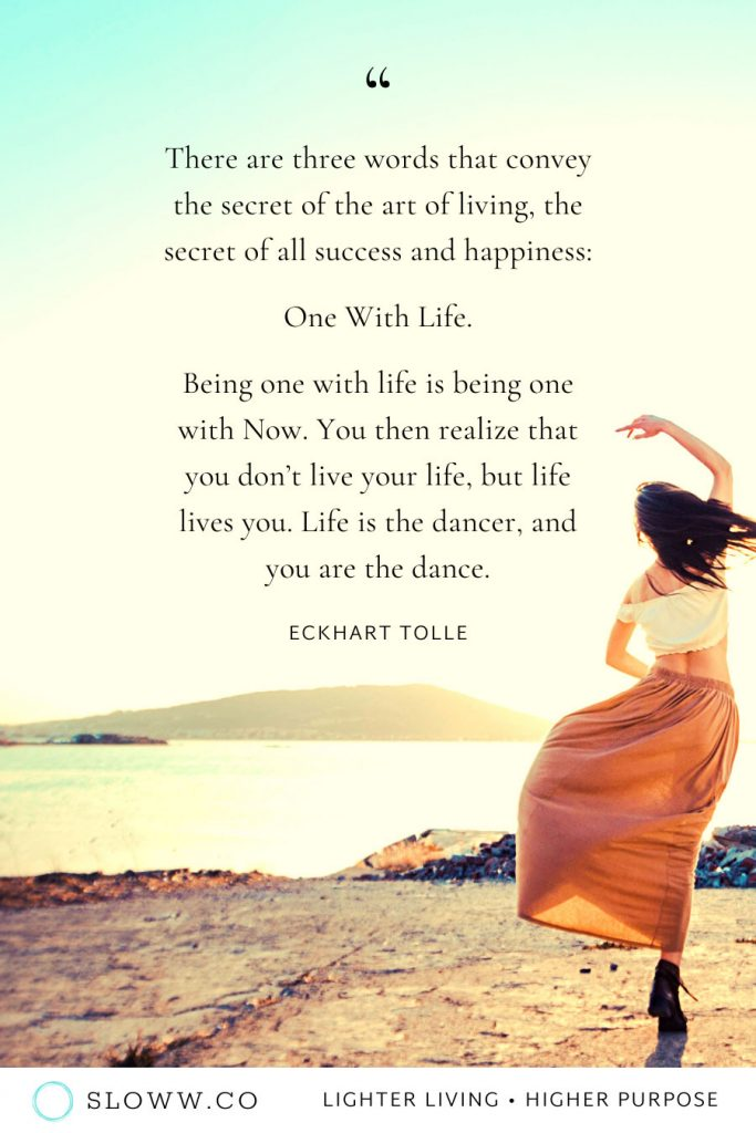 Sloww Art of Living Quote Eckhart Tolle
