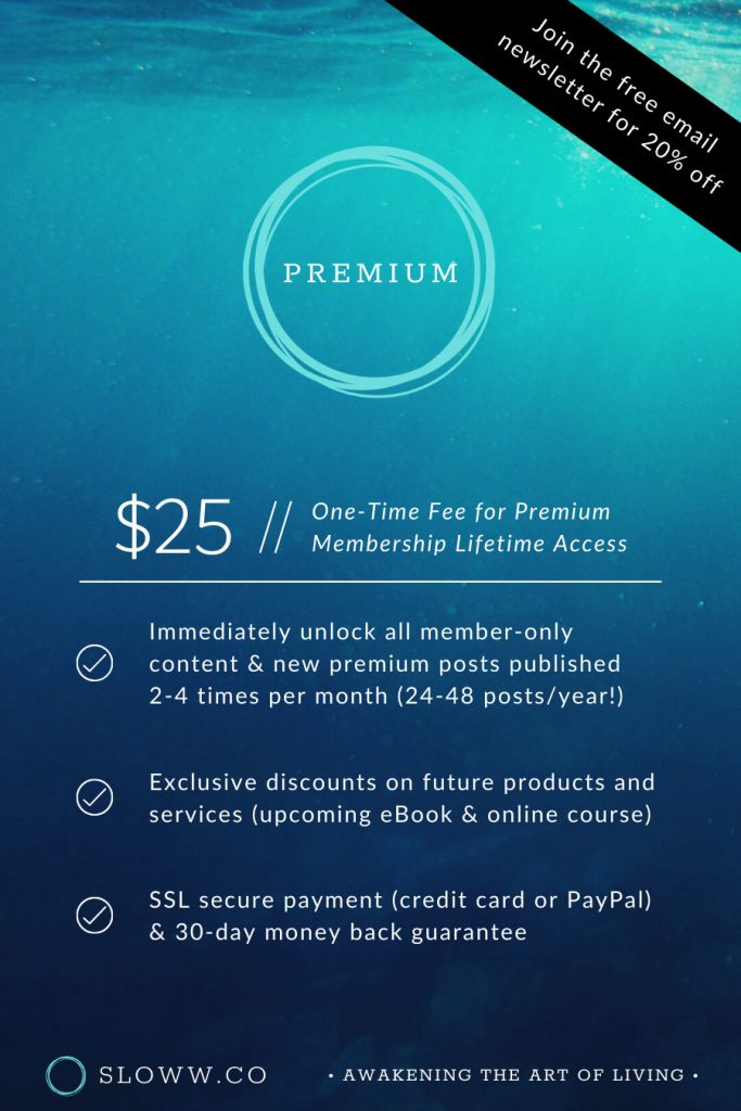 Sloww Premium Membership Pricing Table