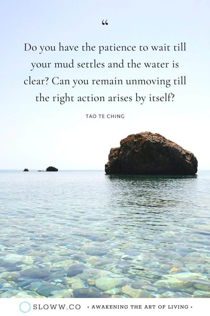 Sloww Mud Settles Tao Te Ching Quote