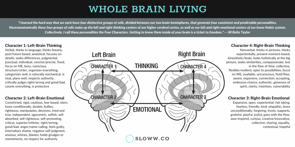 Sloww Whole Brain Living Four Characters Infographic